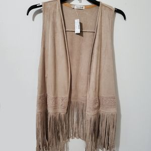 Maurices Tan Faux Suede Vest With Lace And Fringe